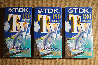 3 x TDK 180 3 Hour - blank VHS Video Cassette TAPES - Sealed & Unused