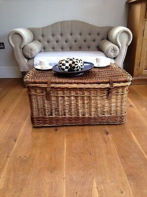 Antique victorian wicker trunk basket laundry coffee table toy box shabby chic