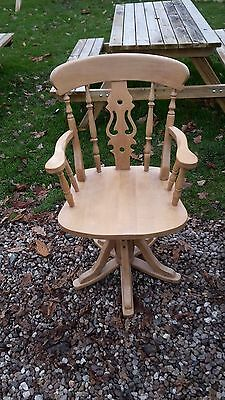 Solid Beech Fiddle Back Revolving Office / Desk Chair Delivery Available