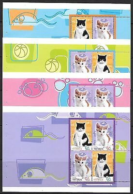 AUSTRALIA 2004 Cats set of 5 sheets from booklet, UM.