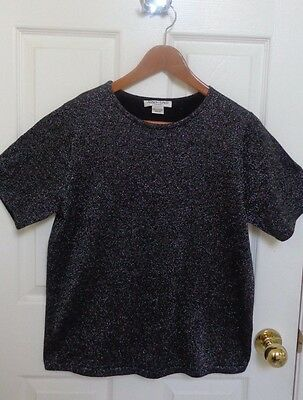 Fancy Sweater short sleeve silver black shimmery holiday special occasion Med 16