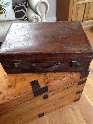 Vintage Leather Suitcase J W S Initials Heavy Duty