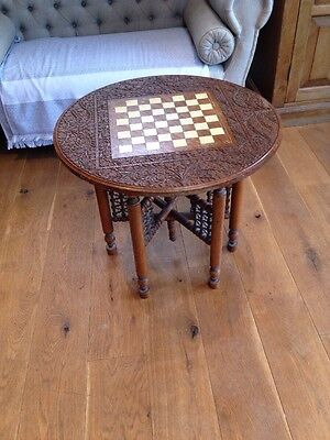 Carved And Inlaid Indian Chess Table