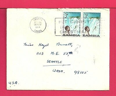 1964 Zambia Cover Lusaka Cancel To Usa W/ Letter And Christmas Card