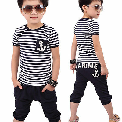 2pcs Baby Kids Boys Summer Clothes Outfits T-shirt Tops + Pant Tracksuit Sets #V
