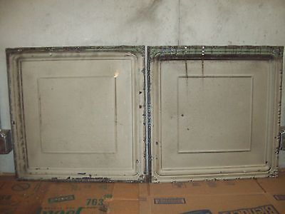 "<2>  24"" x 24"" Antique Tin Ceiling Tiles - Light Grey/Olive"