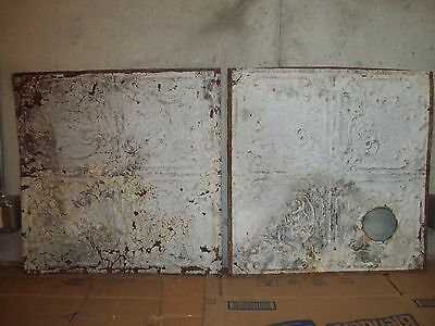 "<2>  24"" x 24"" Antique Tin Ceiling Tiles - Wht/Crm"