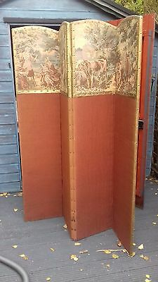 Antique 4 fold Screen Divider Wood Frame/Hessian/Tapestry tops