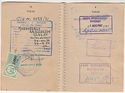 1974,1967 Djibouti Revenue Stamps Aden France On One Document.