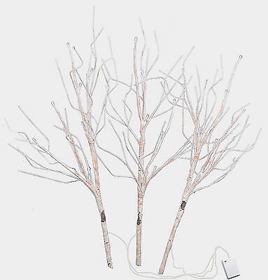 """LED Lighted Faux Birch Branch Set/3 Battery Operated 30"""" Home Holiday  X-:F3060"""