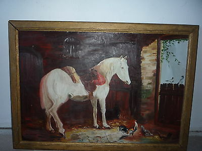 Antique/Old Horse Chicken Bird Oil Painting on Board - Framed & Signed