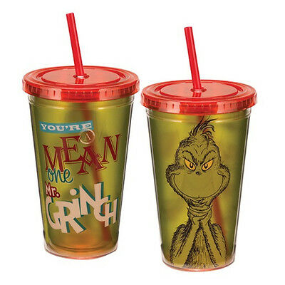 Dr. Seuss You're A  Mean One Mr. Grinch 18 oz Acrylic Travel Cup, NEW UNUSED