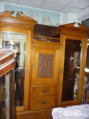 Very Unusual Victorian Walnut Triple Wardrobe Compactum Ideal For Tricky Stairs