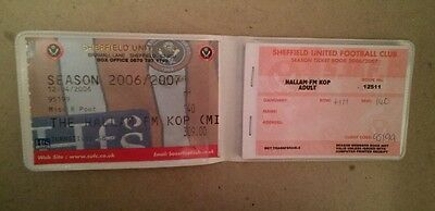 Sheffield United 2006/07 season ticket and book and plastic holder