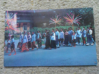 "* Singapore.old Postcard. ""a Malay Wedding Procession ""  A Malayan Color Views."