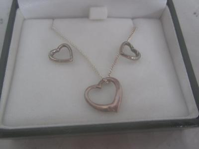 Ladies Sterling Silver Heart Necklace Pendant  and Earring Set