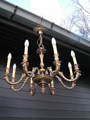 &&&  Fantastic vintage french 8 lt aged bronze  chandelier . LOOK AT THIS 1 &&&