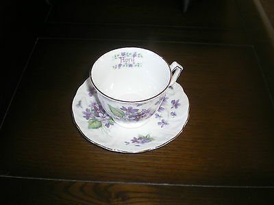 Purple Flowers Violets April Cup And Saucer Aynsley Fine Bone China