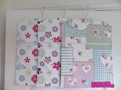 """Hand Made Peg / Hanging Storage Bag Lined/Zipped 12½"""" x 16"""" - 3 Designs"""