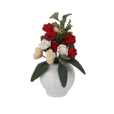 Dolls House Miniature Clay Roses Flower in Porcelain Vase Garden Accessory