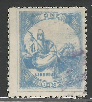 Liberia Early 1 Cent Stamp from Quality Old Album