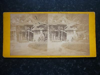 Stereoview Nice Early Image French ? Beautiful Unusual Thatched House Cottage
