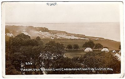 R.p. Postcard Manchester Brigade Camp-& Sea View-Carnarvon From The Castle-1914