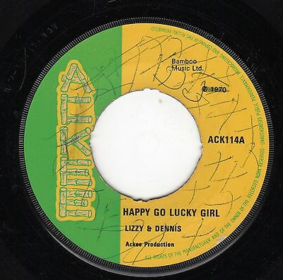 """"""" HAPPY GO LUCKY GIRL. """" lizzy & dennis. ACKEE 7in 1970."""