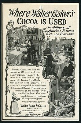 1902 Baker's cocoa hot chocolate illustrated vintage print ad
