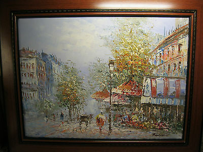 """A French Street Scene Framed Oil On Canvas Painting By """"berman"""""""