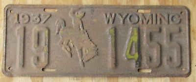 1937 WYOMING license plate  UNRESTORED  1937  19-1455