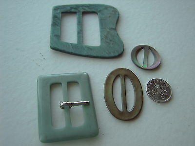 ^ Vintage Belt Buckles - Two Turquoise Plastic + Two Mother Of Pearl  [Bb]