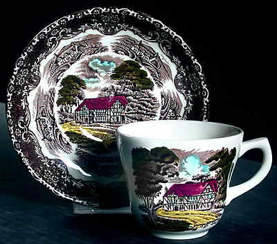 Grindley ENGLISH COUNTRY INNS BROWN MULTICOLOR Cup & Saucer 3457280