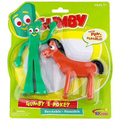 New Big Gumby and Pokey Pair Toy Figures TV Cartoon Bendable Doll Claymation