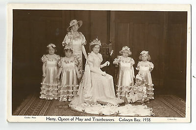 Wales Colwyn Bay 'Hetty' Queen of May  Train Bearers Real Photo Vintage Postcard