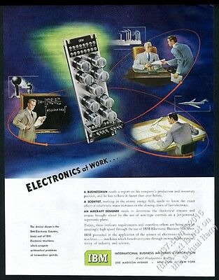 1950 IBM computer system Electronics At Work vintage print ad