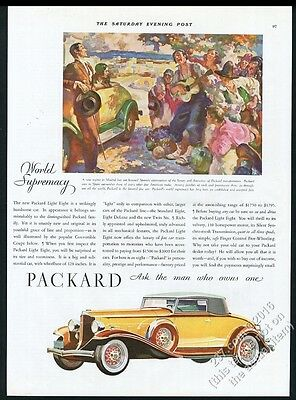 1932 Packard Light Eight Convertible Coupe car vintage print ad