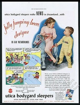1949 Mexican Jumping Beans cartoon Utica Bodygard children sleeper print ad