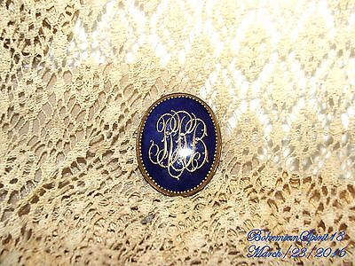 Antique Victorian Large Cameo Initial B.r.b Cobalt Blue Gold Porcelain Brooch