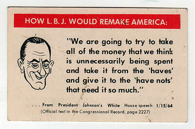 1964 LYNDON JOHNSON LBJ Political CARD Human Events CONSERVATIVE Newspaper