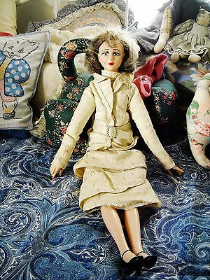 Tall Thin Vintage Bed Sitter Flapper Doll, Plastic Head, Arms, Legs: Cloth Body