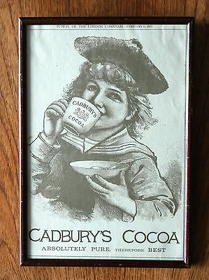 """Lovely Original Vintage """"""""cadbury's Cocoa""""""""  Advertisment  Punch 1892"""