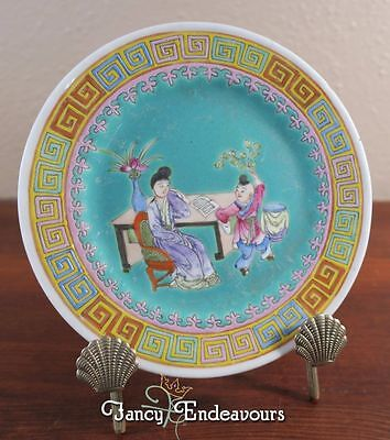 Qianlong? Period Chinese Porcelain Famille Rose Interior Scene Plate with Bats