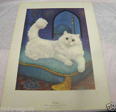 "Girard Goodenow Print Of Painting Persian Cat Vintage 1965 14""x19"""