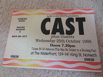 Original Cast Ticket Norwich Waterfront 25Th October 1995 Rare! Mint!