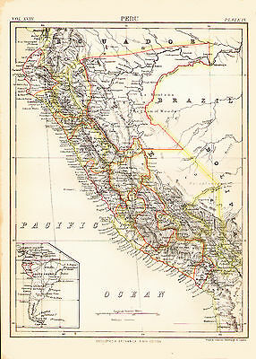 1876 Color Province Map of PERU - Inset map of South America - Different borders