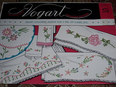 Vintage Vogart #275-Colorful Motifs For Pillowcases Hot Iron Transfer Pattern Ff