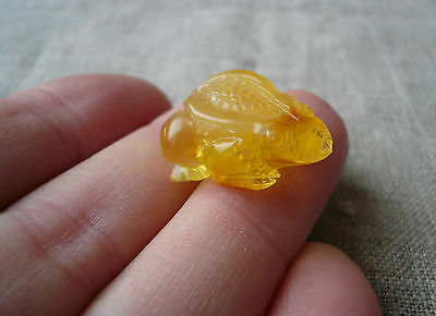 Exclusive Hand Carved Genuine Real Baltic Amber FROG Amulet Talisman