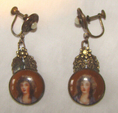 Antique Hand Painted Victorian Mourning Porcelain Picture Earring