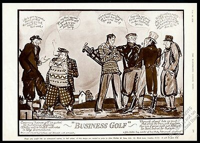 1928 Johnnie Walker Scotch Whisky character golf course art vintage print ad